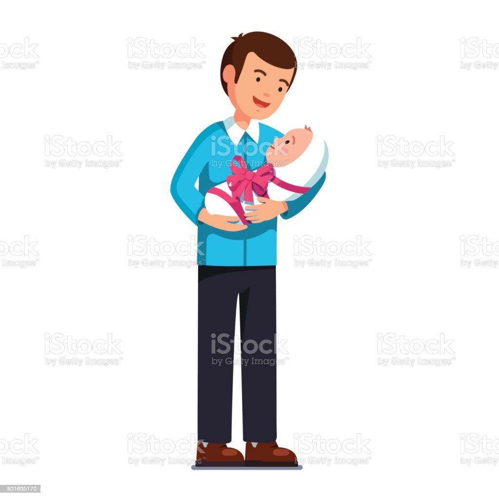 Dad holding newborn baby son or daughter on hands vector art illustration