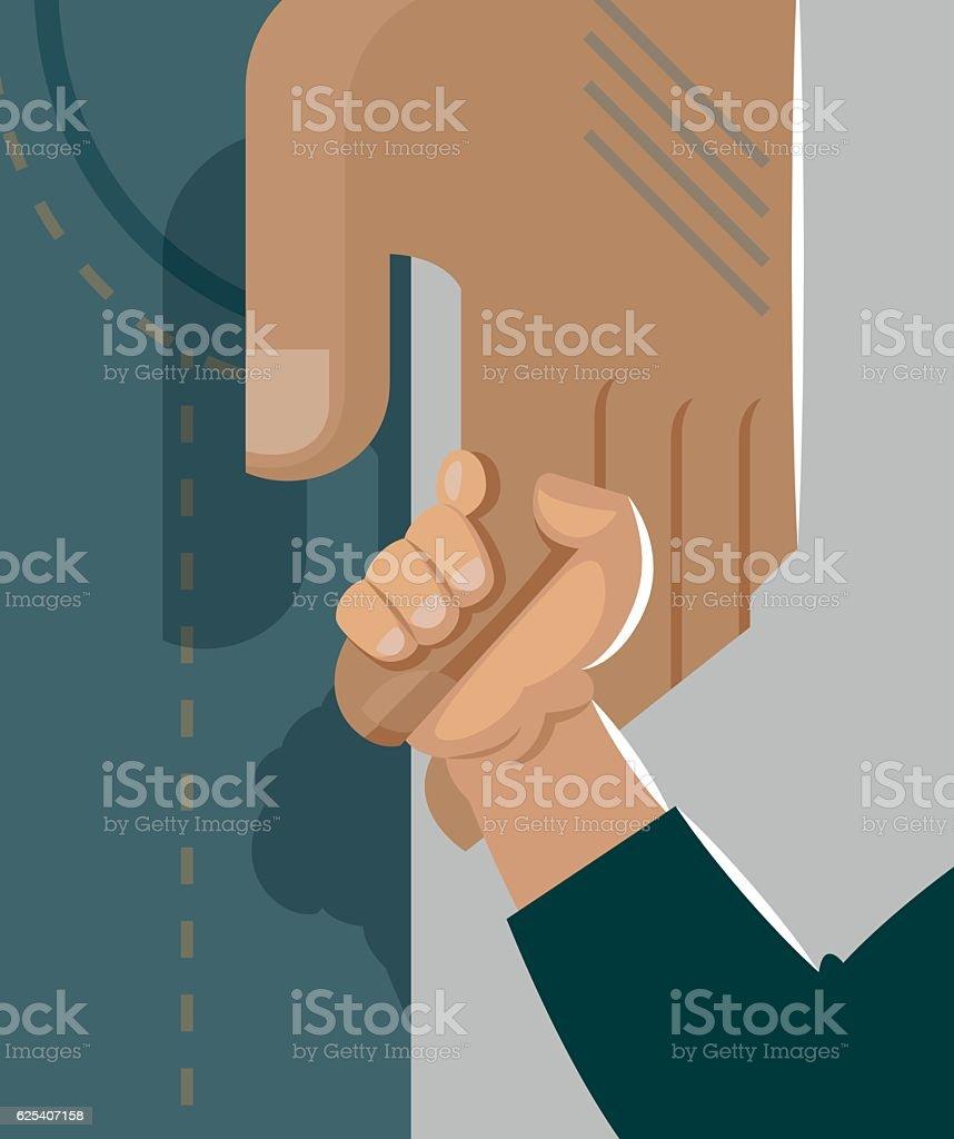 Père et fils tenant par la main. Tendresse et soins - Illustration vectorielle