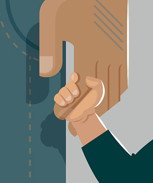 stockillustraties, clipart, cartoons en iconen met dad holding son by the hand. tenderness and care - adoptie