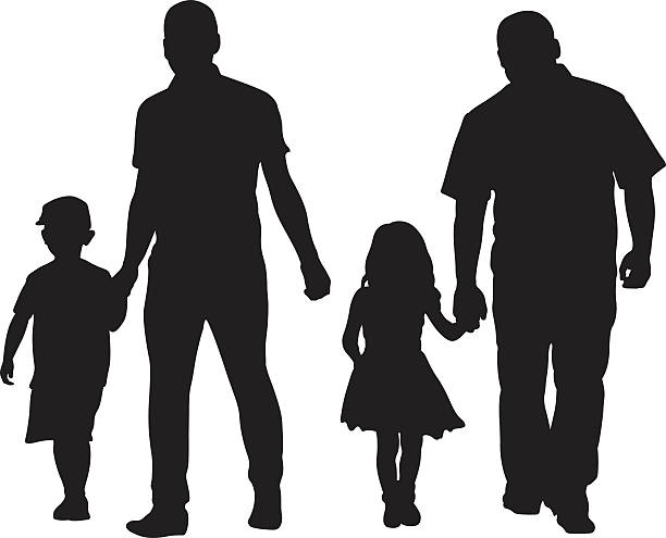 dad kid silhouettes of dads with kids daughter stock illustrations