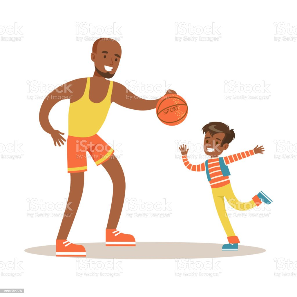 dad paying basketball with son loving father enjoying good quality
