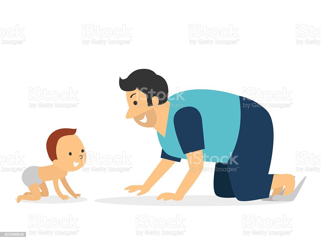 Dad play with kid vector art illustration