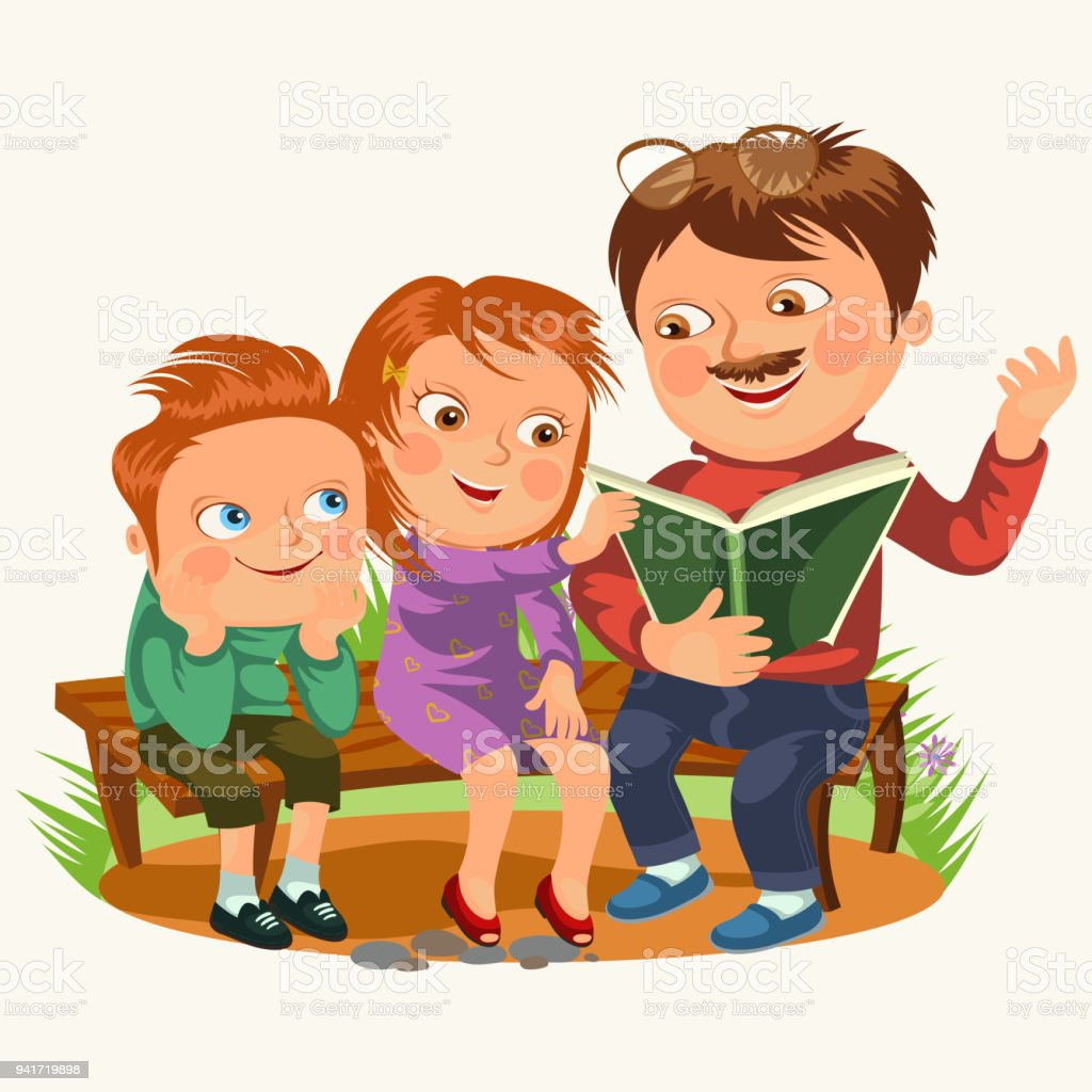 Super Dad Read Book For Childrens In Park Wooden Bench Family Kids  LI17