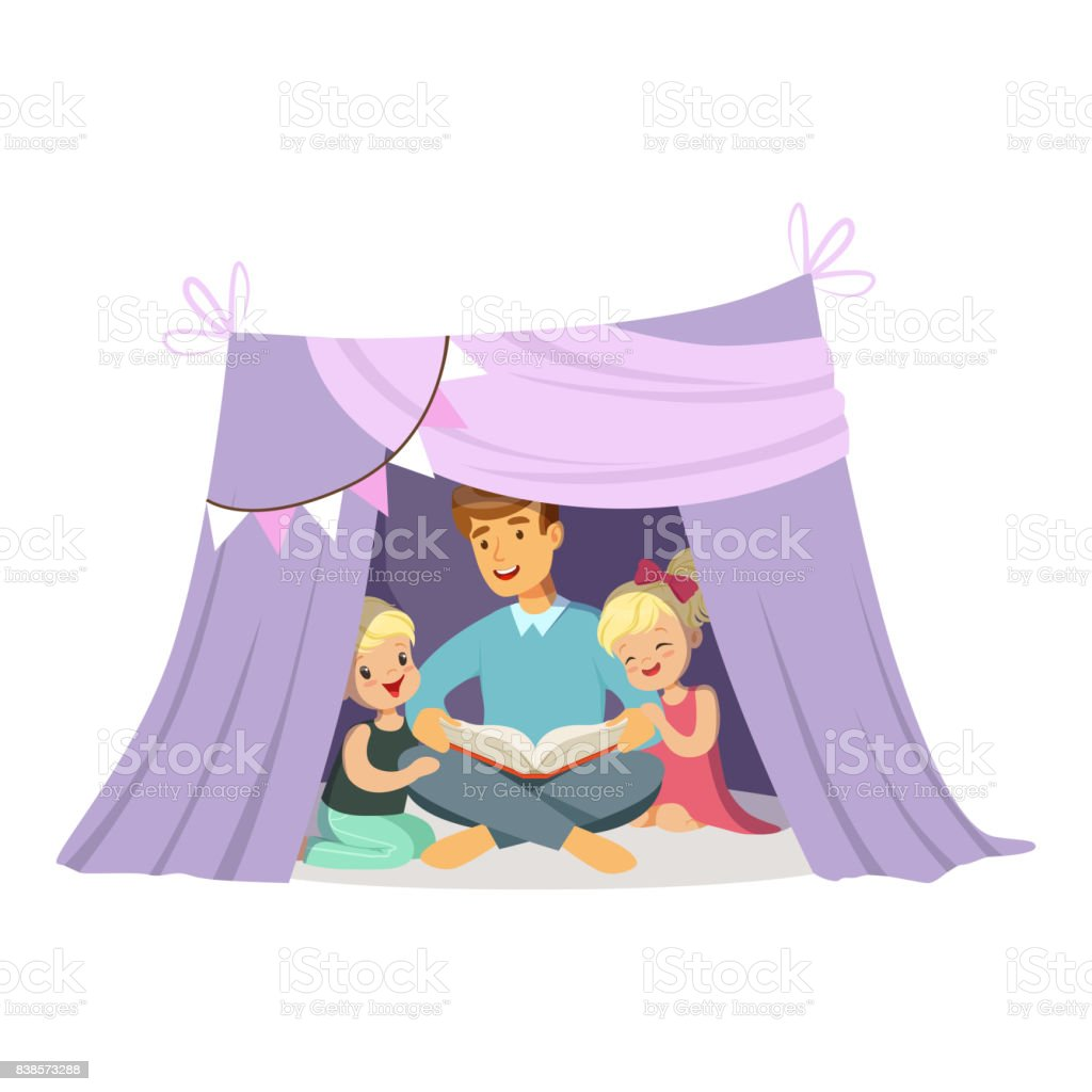 Dad reading a book to her children while sitting in a tepee tent kids having  sc 1 st  iStock & Dad Reading A Book To Her Children While Sitting In A Tepee Tent ...