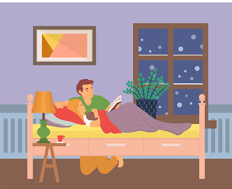 Dad Reading Bedtime Stories to Child in Rood Vector