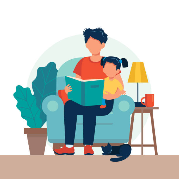 Dad reading for kid. Family sitting on the chair with book. Cute vector illustration in flat style vector art illustration