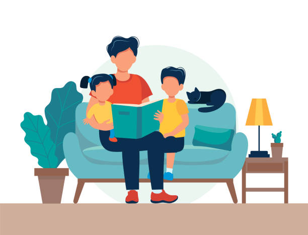 dad reading for kids. family sitting on the sofa with book. cute vector illustration in flat style - bedtime story stock illustrations