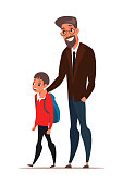 Dad taking son to school vector illustration