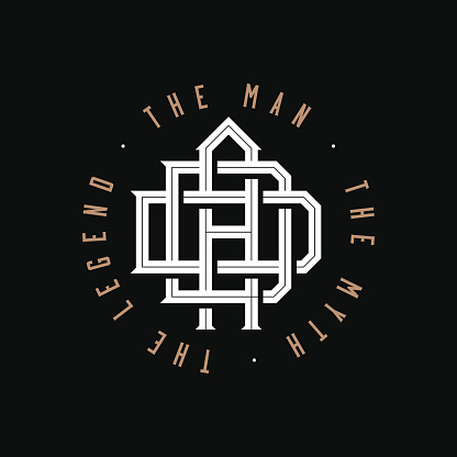 Dad. The man, the myth, the legend. Dad monogram logo emblem design on black background for t-shirt print or any personal gift or souvenir for fathers day or father birthday. Vector illustration