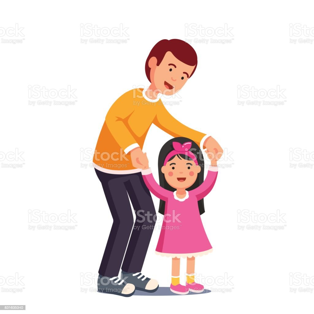 Dad walking with his daughter holding her hands vector art illustration