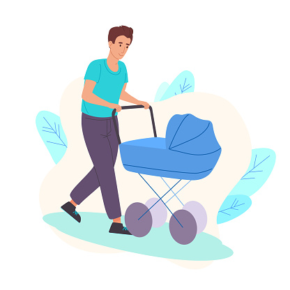 Dad walks on the street as a child in a stroller. Father rolls his son in a stroller in the fresh air. Dad sits at home and takes care of a newborn baby. Dad, stay home.Vector illustration, flat style