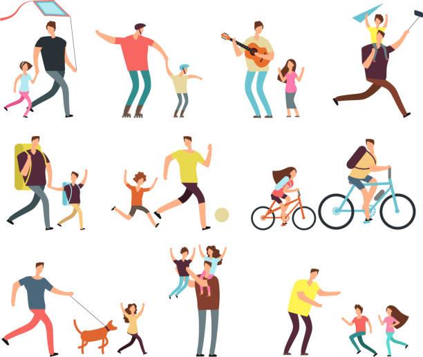 ilustrações, clipart, desenhos animados e ícones de papai brincando com crianças felizes. paternidade e pais dia relacionados pessoas cartum vetor de caracteres isolado - pai e filho