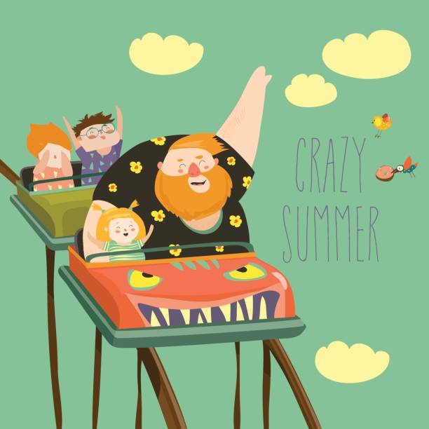 ilustraciones, imágenes clip art, dibujos animados e iconos de stock de papá con los niños montar en montaña rusa en un parque de diversiones - roller coaster