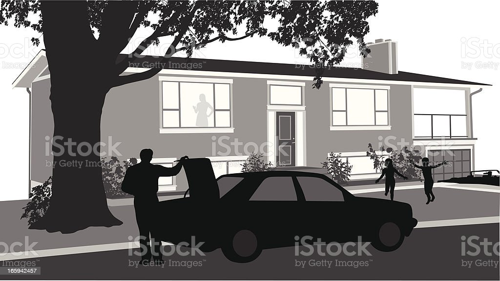 Dad's Home! Vector Silhouette royalty-free dads home vector silhouette stock vector art & more images of adult