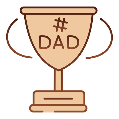 Dads winner cup flat icon. Fathers day award brown icons in trendy flat style. Winner goblet gradient style design, designed for web and app. Eps 10.