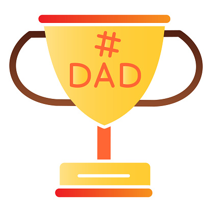 Dads winner cup flat icon. Fathers day award color icons in trendy flat style. Winner goblet gradient style design, designed for web and app. Eps 10.