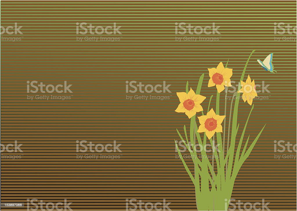 daffodil and butterfly royalty-free stock vector art