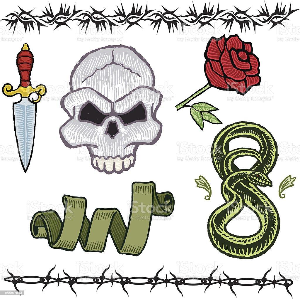 Puñal, cráneo y rosas, Snake, plano, alambradas tatuaje diseños ilustración de puñal cráneo y rosas snake plano alambradas tatuaje diseños y más banco de imágenes de alambre de espino libre de derechos