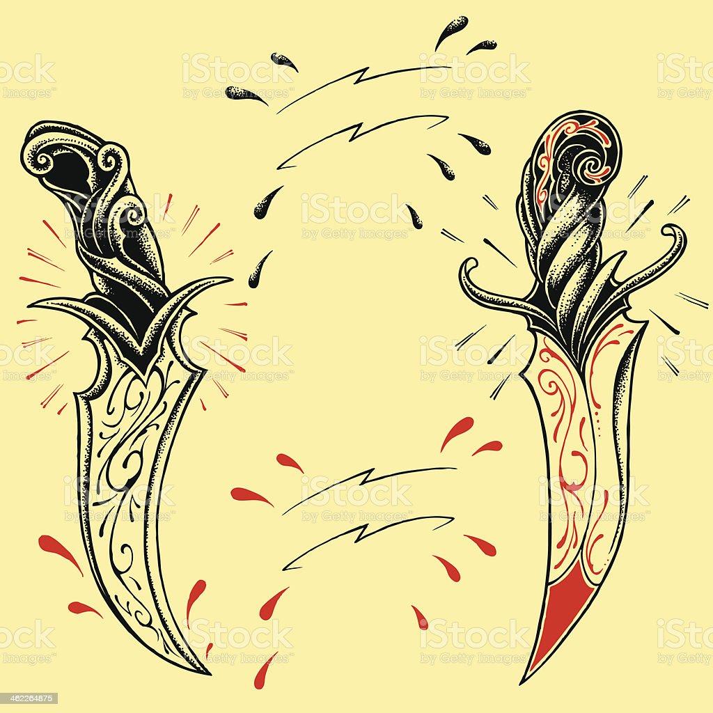Daggers oldskool Tattoo style design royalty-free stock vector art