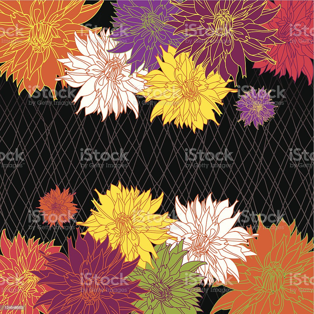 Dahlia Background (Black) royalty-free dahlia background stock vector art & more images of aster