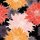 Autumn Dahlias seamless pattern.