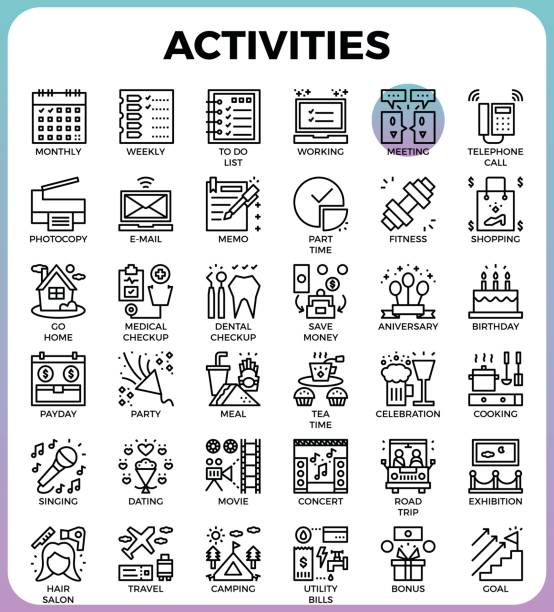 Daily Activities concept detailed line icons vector art illustration