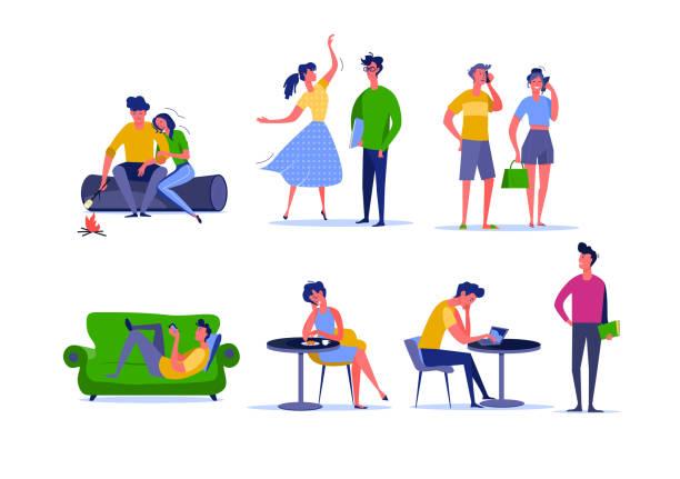 illustrazioni stock, clip art, cartoni animati e icone di tendenza di daily activity of young couples - compagni scuola