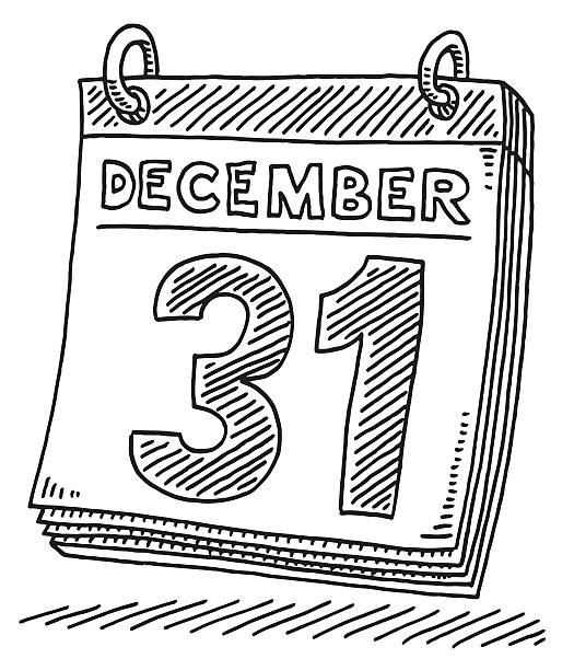 Daily Calendar December 31 Drawing Hand-drawn vector drawing of a Daily Calendar on December 31. Black-and-White sketch on a transparent background (.eps-file). Included files are EPS (v10) and Hi-Res JPG. celebration stock illustrations