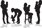 A vector silhouette illustration of a mother with her young daughter in several positions including two holding her in her arms, teaching her to walk, and holding her while sitting on a stool.