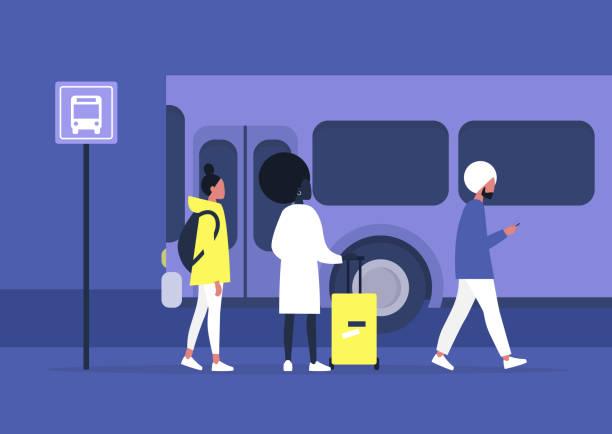 毎日の通勤、公共交通機関、駅でバスを待っている多様なキャラクターのグループ - 通勤点のイラスト素材/クリップアート素材/マンガ素材/アイコン素材