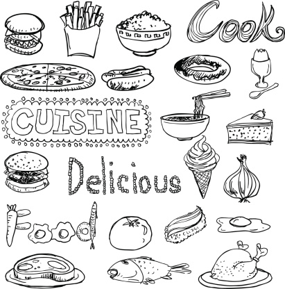 Daily food sketch drawing collection