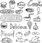 Daily food sketch drawing collection, black and white