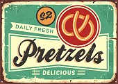 Daily fresh hot pretzels retro bakery sign