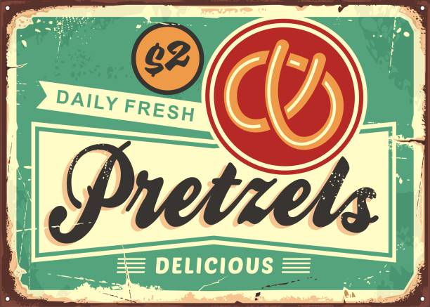 daily fresh hot pretzels retro bakery sign - 20th century stock illustrations