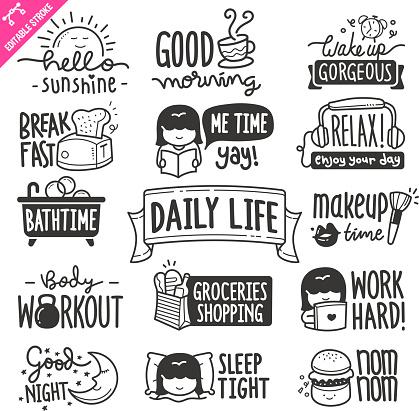 Daily Life Design elements. Black and White Vector Doodle Illustration Set. Editable Stroke.
