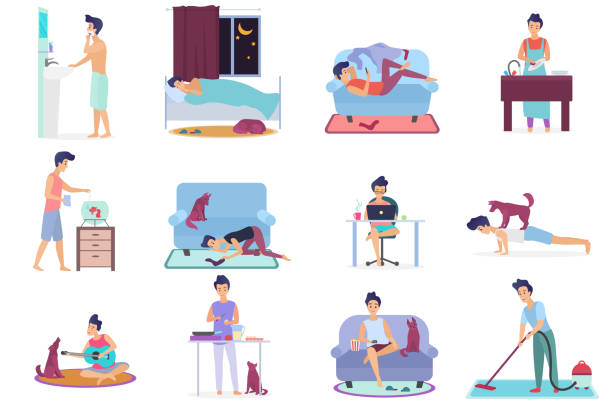 ilustrações de stock, clip art, desenhos animados e ícones de daily life, everyday routine scenes of young man. playing on guitar with dog, watching tv, working on laptop, sleeping, cleaning room, cooking, washing clothes, doing exercises vector illustration. - fail cooking