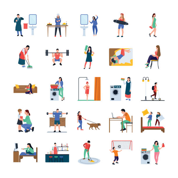 Daily Life Flat Icons Pack Collection of daily life routine flat vectors pack is here, portraying some icons that can solve your work problems. You can get positive response of viewers by holding  helpful visuals of this pack. Grab this set to utilize in relevant field. watching tv stock illustrations
