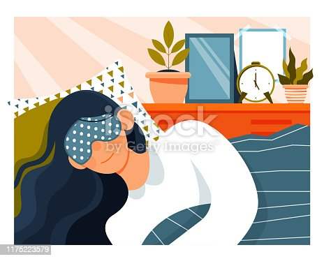 istock Daily Life of a young woman showing her sleeping 1175223579