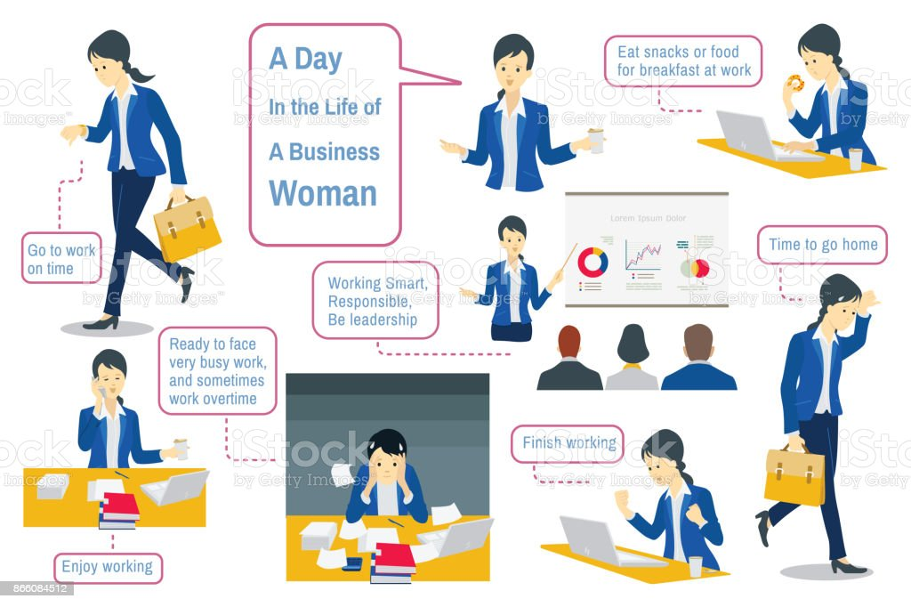 Daily life of businesswoman vector art illustration