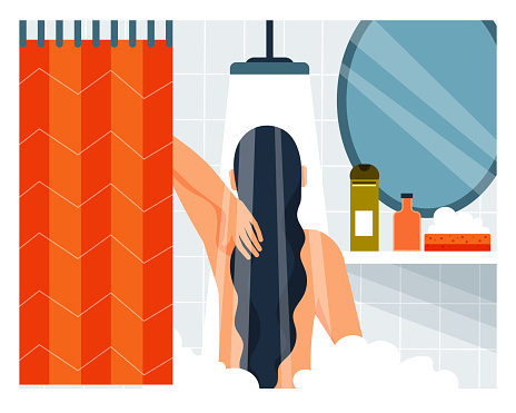 Daily life. Woman taking a shower. Vector illustration. Cartoon character.
