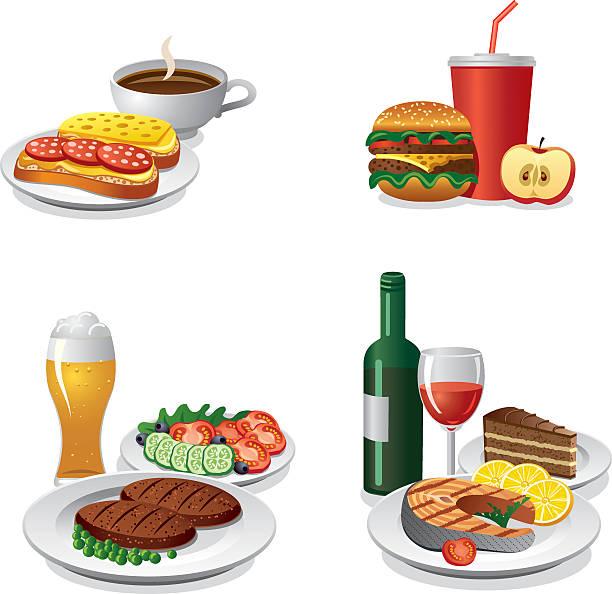 tägliche mahlzeiten icon-set - lachskuchen stock-grafiken, -clipart, -cartoons und -symbole