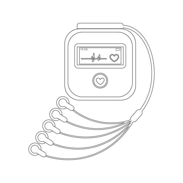 illustrazioni stock, clip art, cartoni animati e icone di tendenza di daily monitoring of ecg. holter for daily use. the device monitors the bleeding of the heart. and can prevent a heart attack - elettrodo