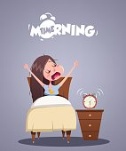 Daily Morning Life. Young girl yawns in bed