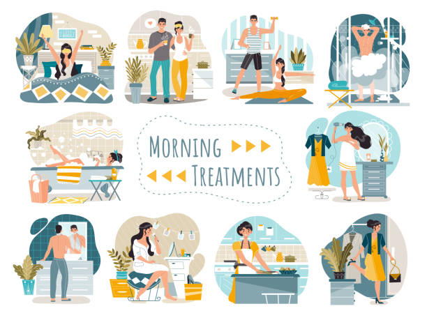 daily morning routine of man and woman cartoon characters, vector illustration - woman cooking stock illustrations