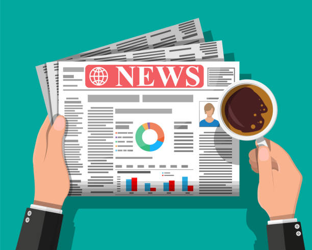 Daily newspaper in hands Businessman with coffee reading daily newspaper. News journal design. Pages with various headlines, images, quotes, text and articles. Media, journalism and press. Vector illustration in flat style. publicité stock illustrations