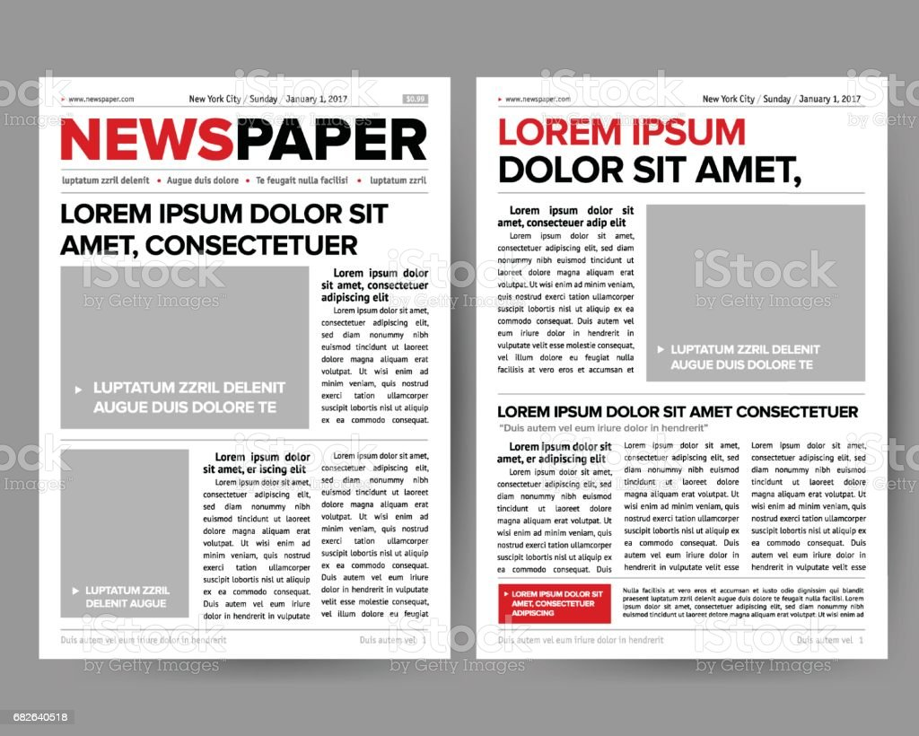 Daily Newspaper Journal Design Template With Twopage Opening – Newspaper Headline Template