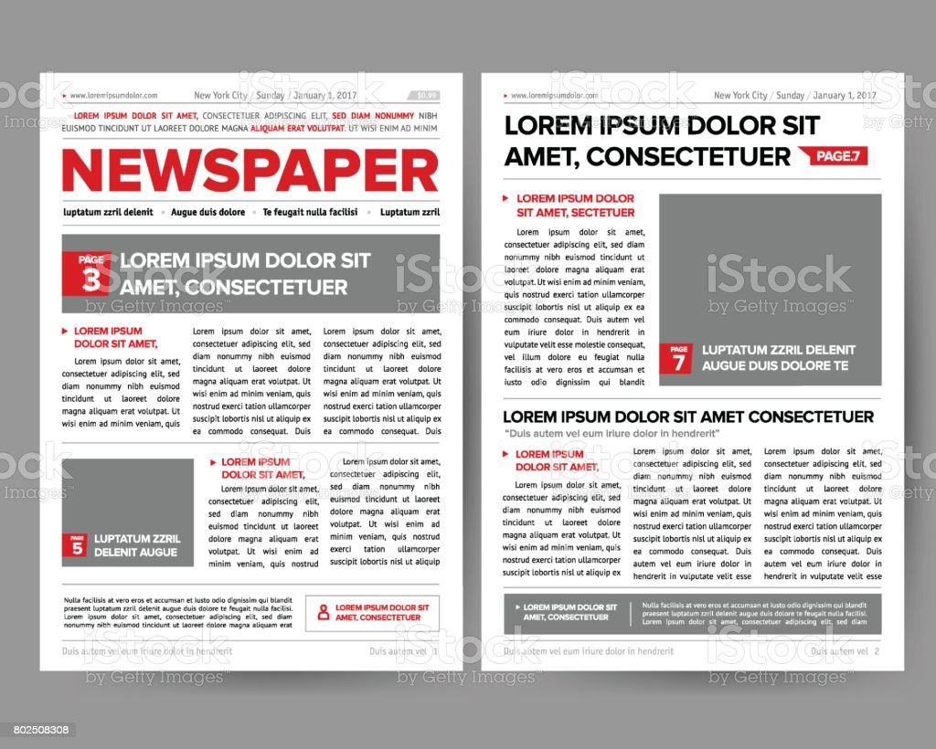 Ilustración de Plantilla De Diseño De Revista De Periódico Diario ...