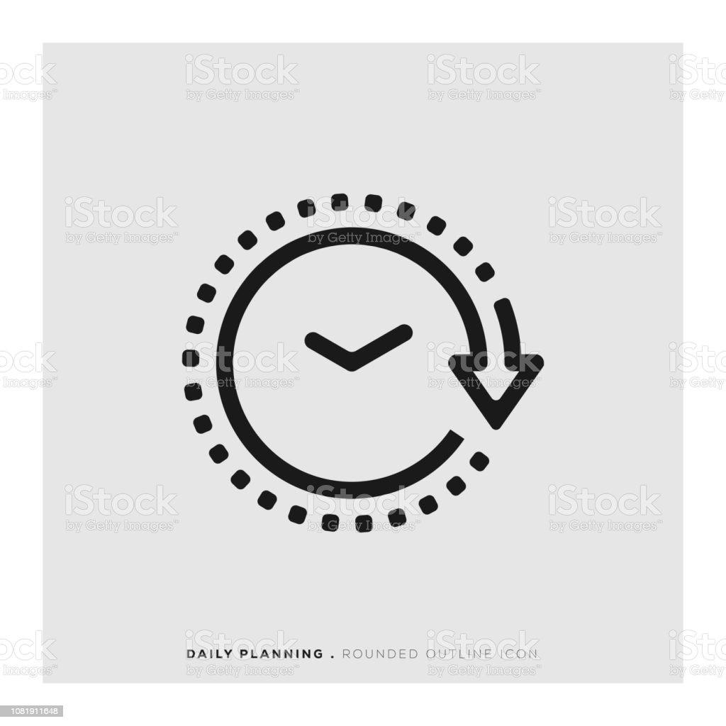 Icône de ligne arrondi planification quotidienne - clipart vectoriel de Affaires libre de droits