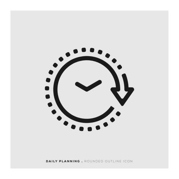ikona zaokrąglona linia planowania dziennego - czas stock illustrations