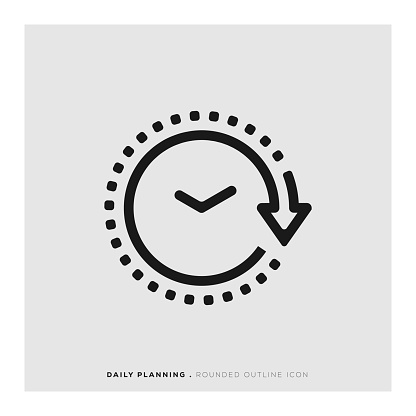 Daily Planning Rounded Line Icon Stock Illustration - Download Image Now